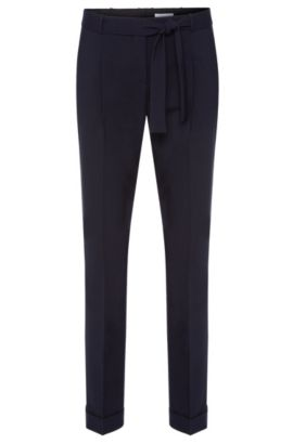 Pleat-front trousers in stretchy new wool with a wrap belt: 'Tilesa', Dark Blue