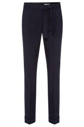 Pantaloni con pince in lana vergine elasticizzata con cintura a fusciacca: 'Tilesa', Celeste