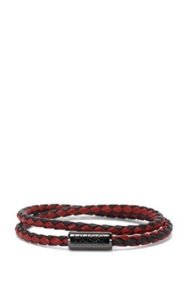 Leather wrap bracelet in a braided look: 'E-Braid', Patterned