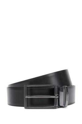 Wendegürtel aus Leder mit auswechselbarer Schnalle: 'Grady-G_Gb35_ps', Schwarz