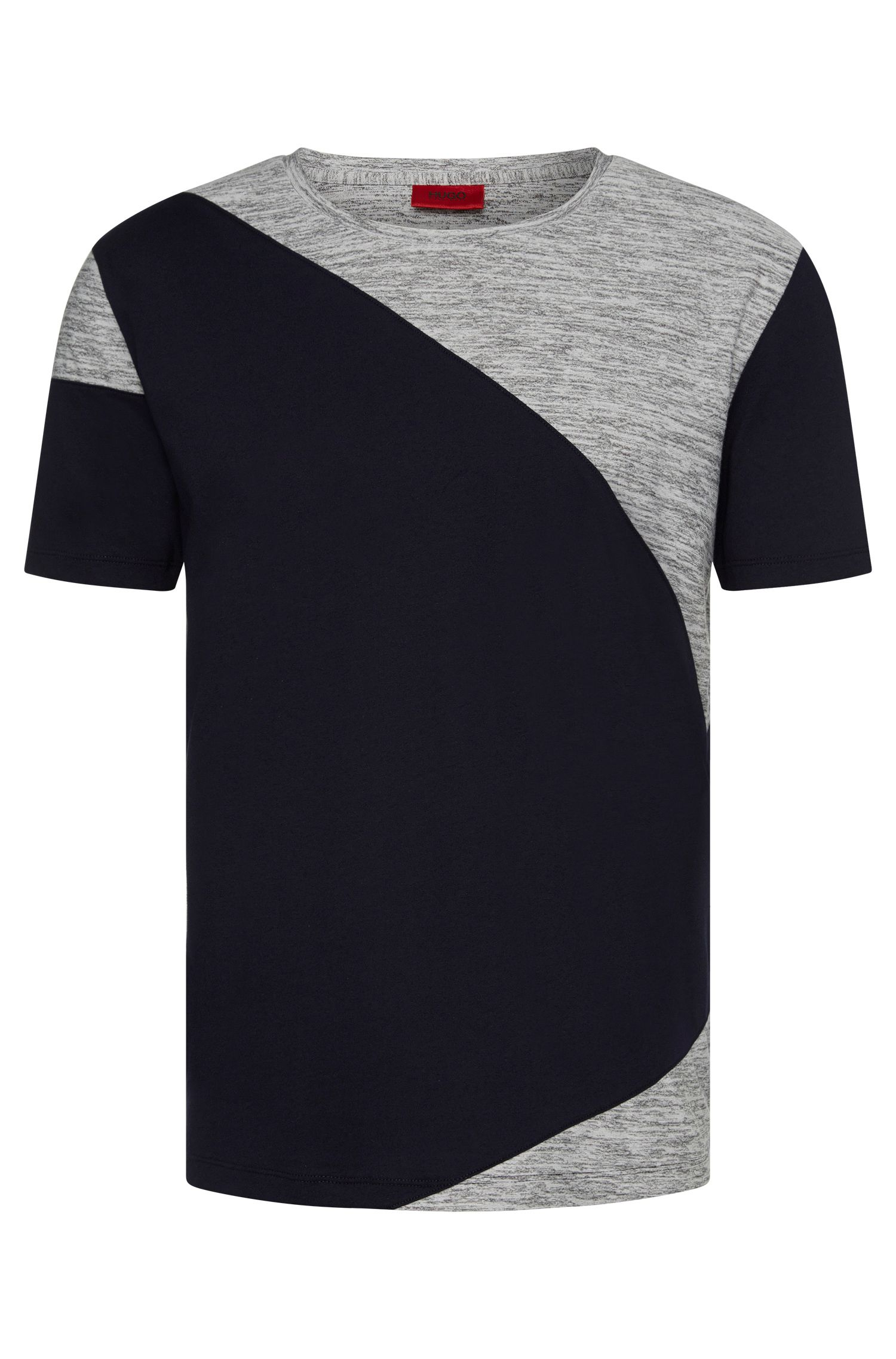 Relaxed-fit cotton t-shirt with mottled inserts: 'Dahoo'