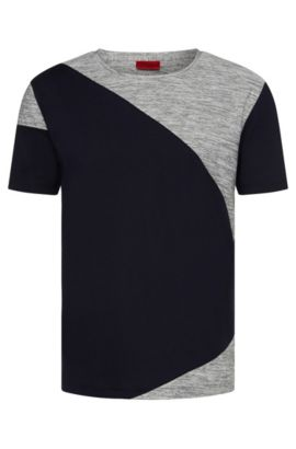 Relaxed-fit cotton t-shirt with mottled inserts: 'Dahoo', Dark Blue