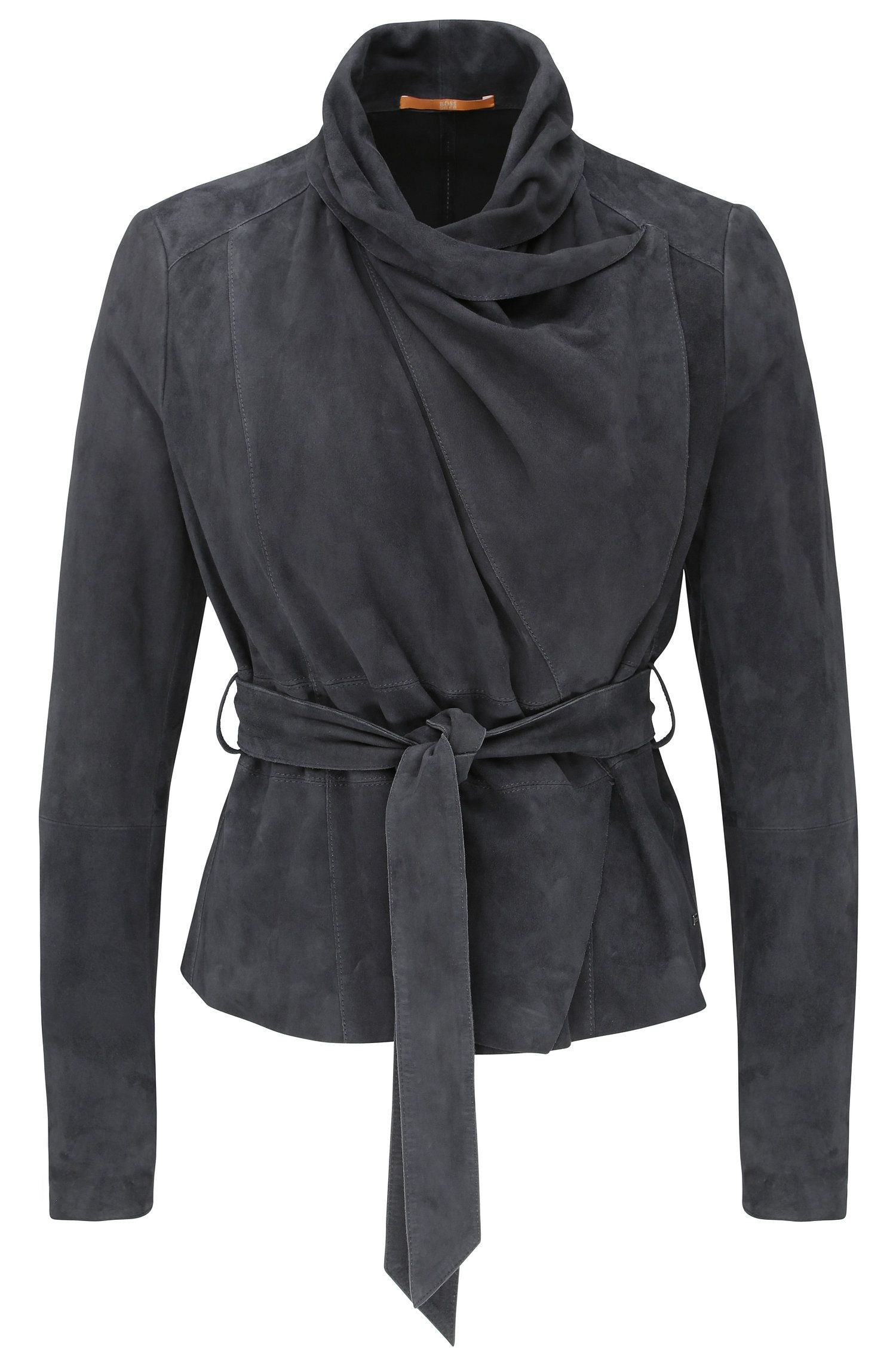 Leather jacket with cowl neck and wrap belt: 'Janelli'