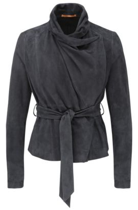 Leather jacket with cowl neck and wrap belt: 'Janelli', Dark Blue