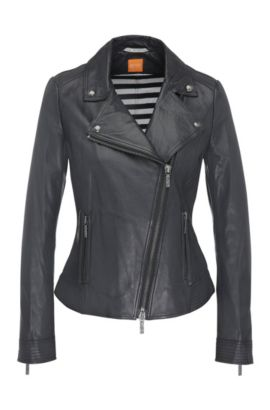 Leather biker-look jacket with lapel collar: 'Jamela2', Dark Blue