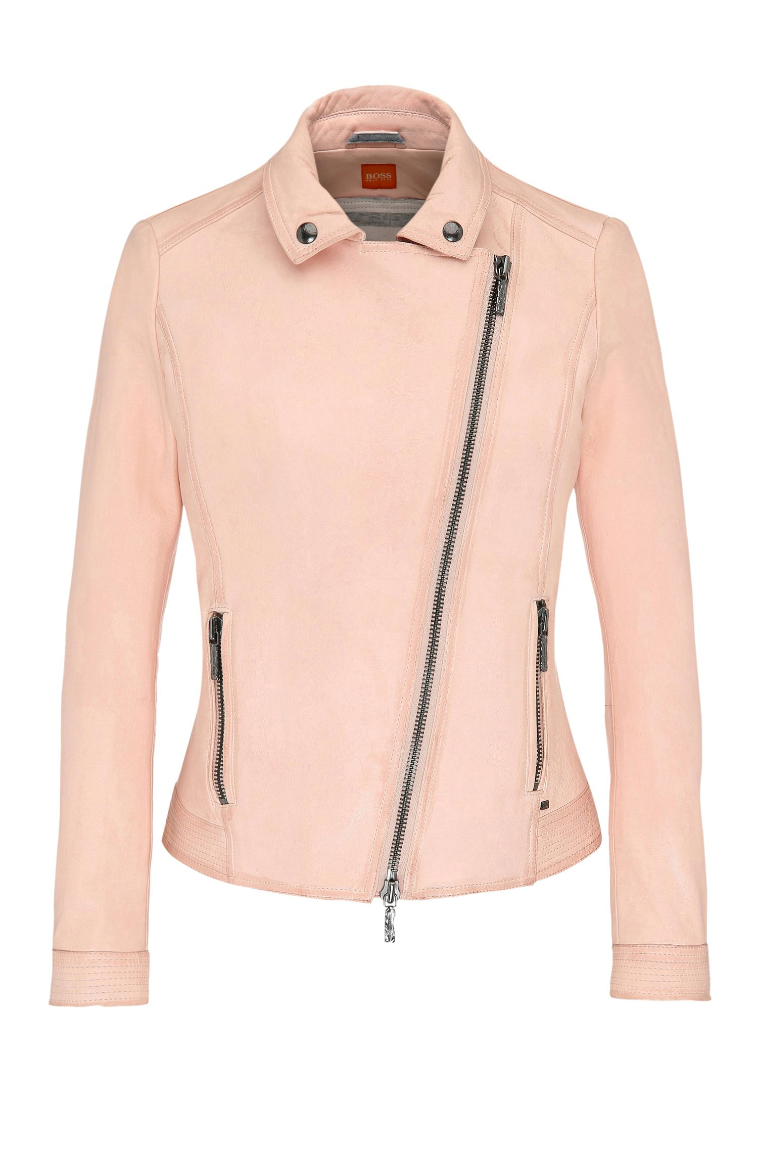 Leather biker-look jacket with lapel collar: 'Jamela2'