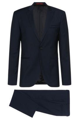 Finely striped slim-fit suit in new wool: 'Auert/Himyn', Dark Blue
