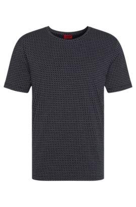 Gemustertes Relaxed-Fit T-Shirt aus Baumwolle: 'Drid', Dunkelblau