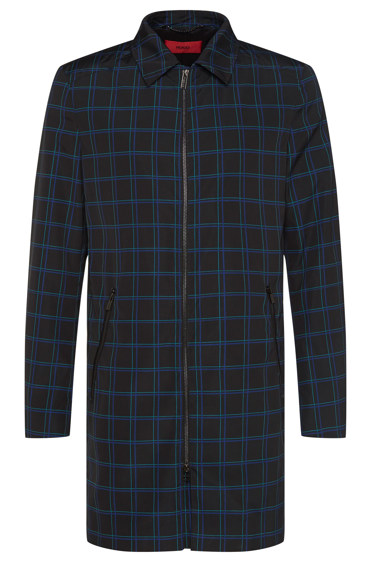 Checked coat with 2-way zip: 'Melcet'