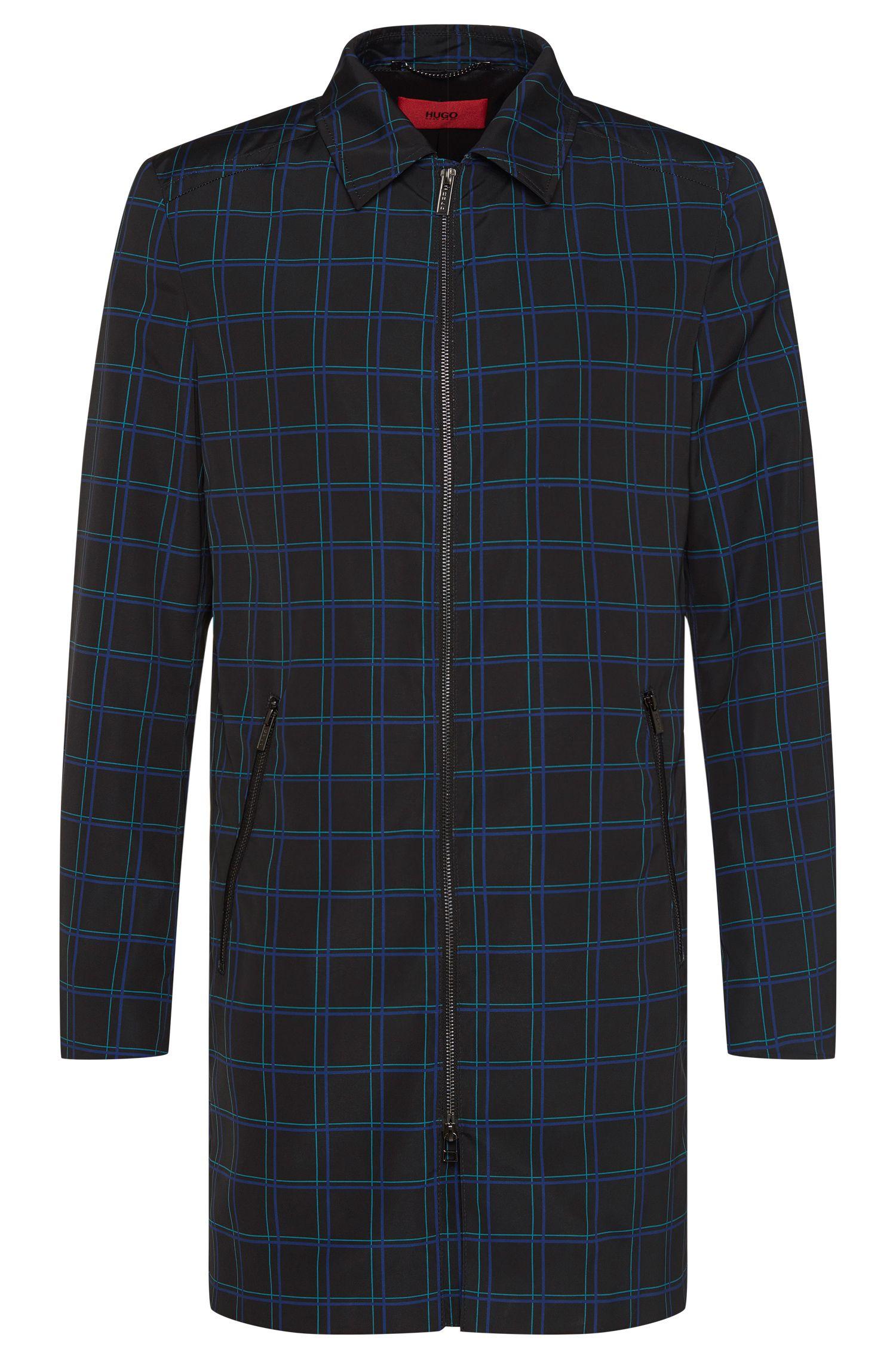 Cappotto con disegno a quadri con zip a due direzioni: 'Melcet'