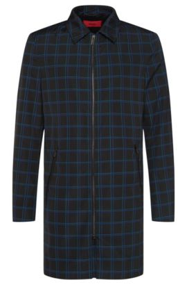 Checked coat with 2-way zip: 'Melcet', Black