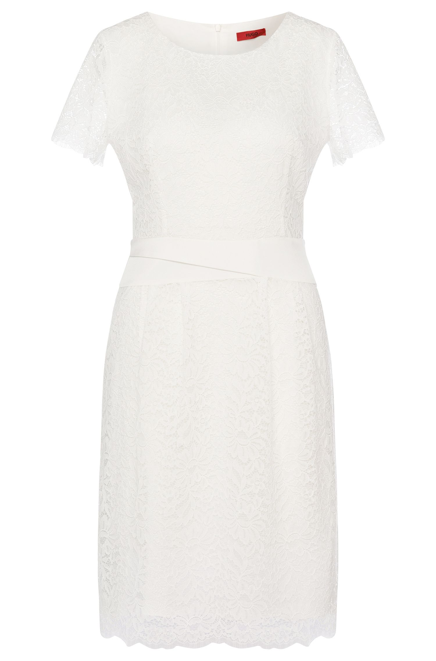 Lace dress with trim in stretch silk: 'Kalila-1'