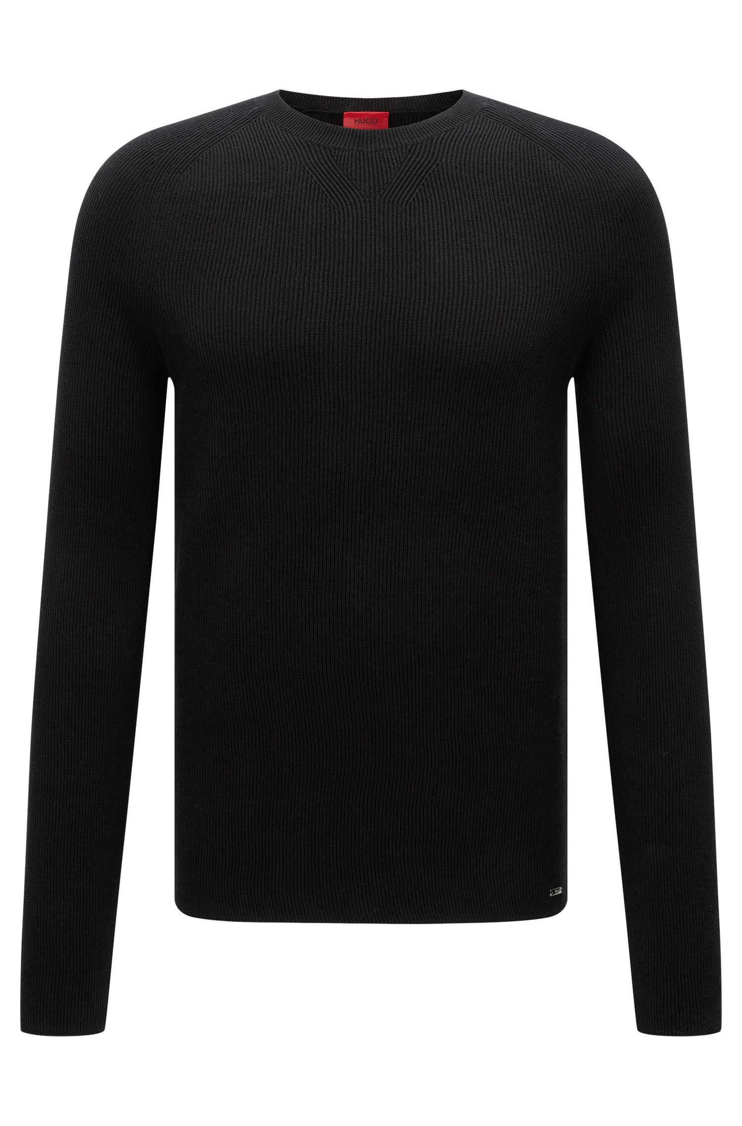 Textured slim-fit sweater in cotton: 'Slopon'