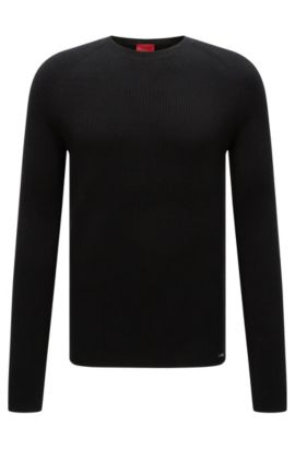 Textured slim-fit sweater in cotton: 'Slopon', Black