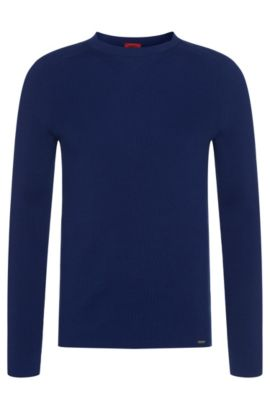 Pull Slim Fit structuré en coton : « Slopon », Bleu