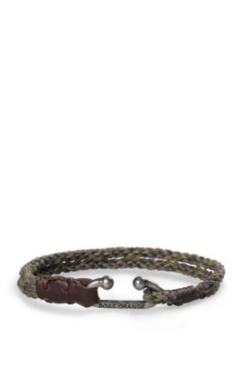 Kordel-Armband aus Baumwolle mit Metallverschluss: ´Mendrix4`, Dunkelgrün