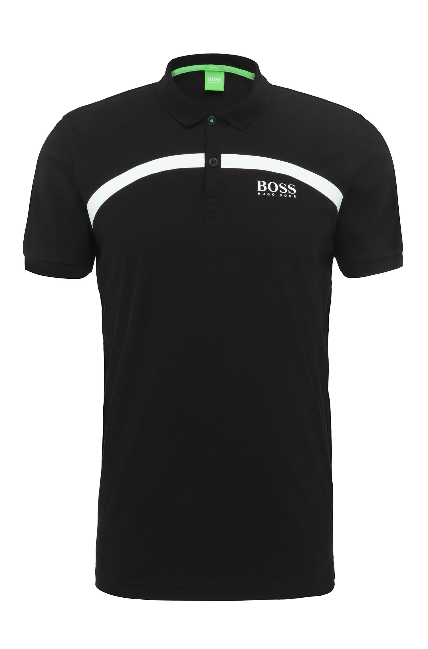 Slim-fit cotton polo shirt with stripes: 'Paule Pro 1'
