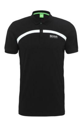 Polo slim fit en algodón con rayas: 'Paule Pro 1', Negro