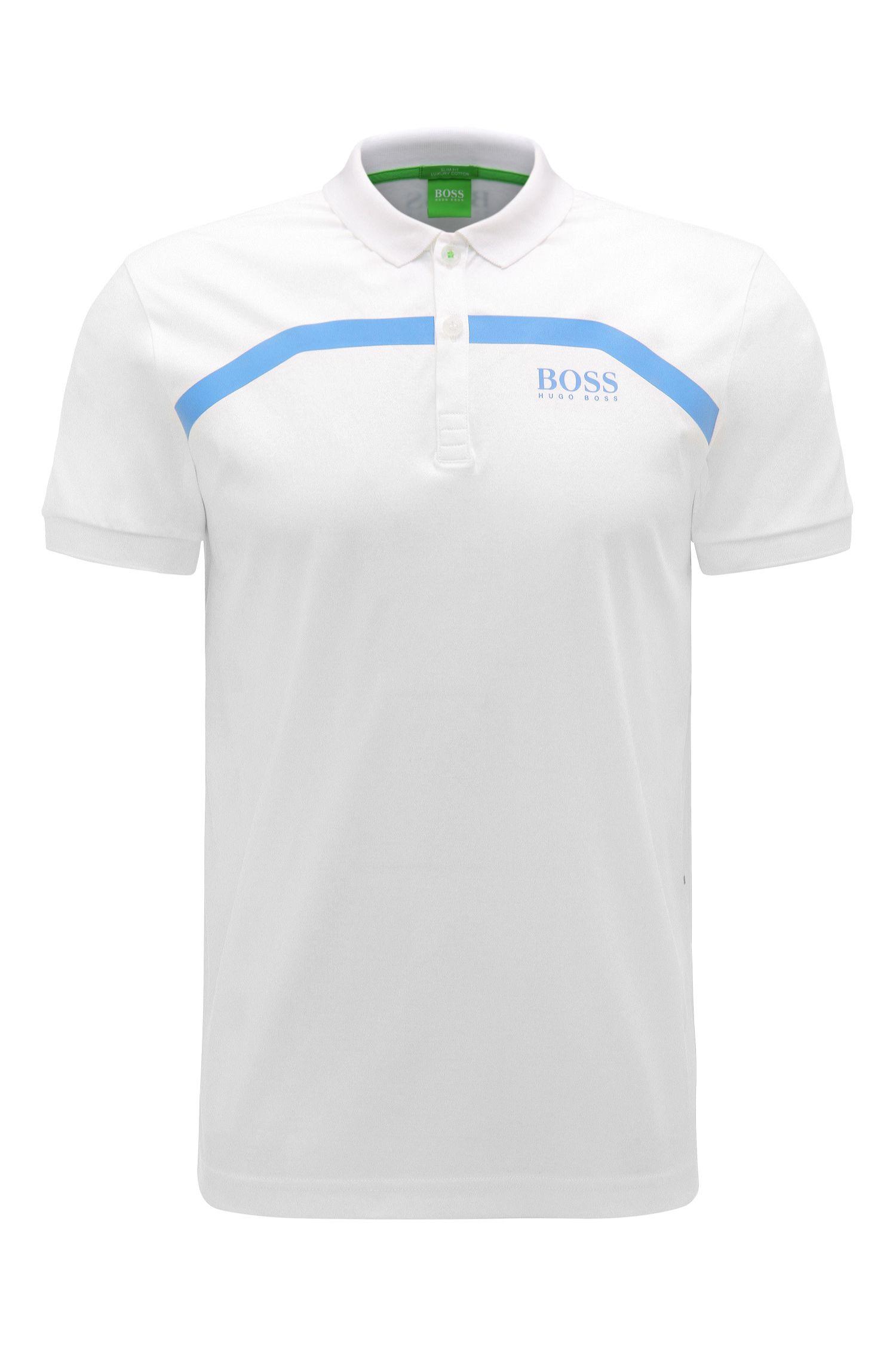 Slim-fit cotton polo shirt with stripes: 'Paule Pro 1'