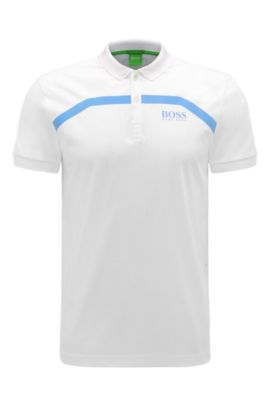 Slim-fit cotton polo shirt with stripes: 'Paule Pro 1', White