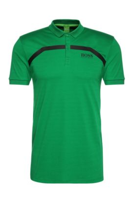 Slim-fit cotton polo shirt with stripes: 'Paule Pro 1', Open Green