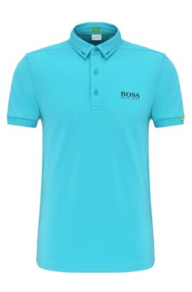 Polo Regular Fit en coton mélangé extensible : « Paddy MK », Bleu vif
