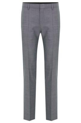 Pantalón slim fit en lana virgen fil a fil, Gris claro