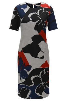Dress with an abstract pattern in stretchy viscose blend: 'Erda', Patterned