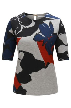 Top with an abstract pattern in stretchy viscose blend: 'Erdasa', Patterned
