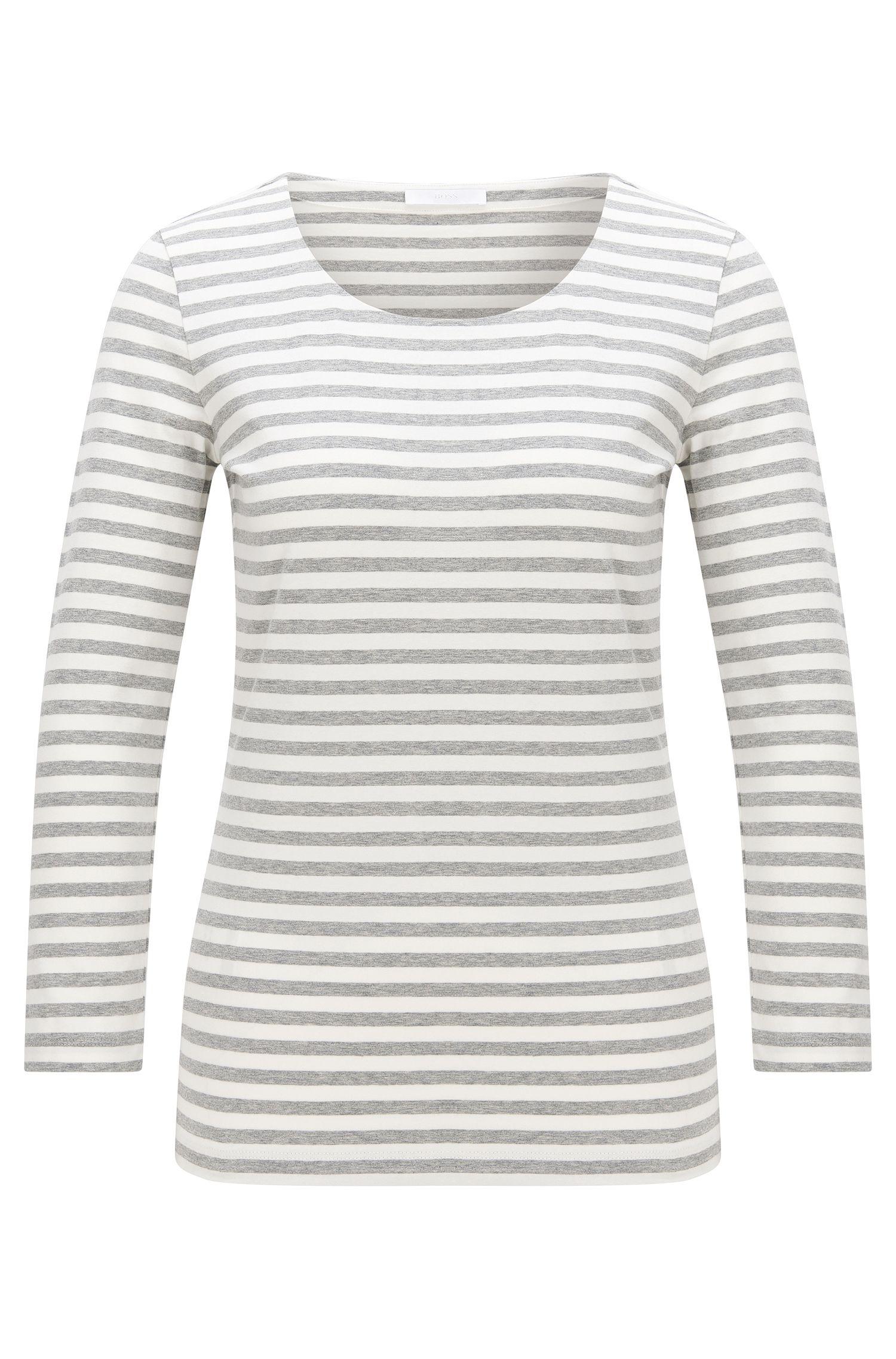 T-shirt à rayures en coton stretch: «Emmisa»