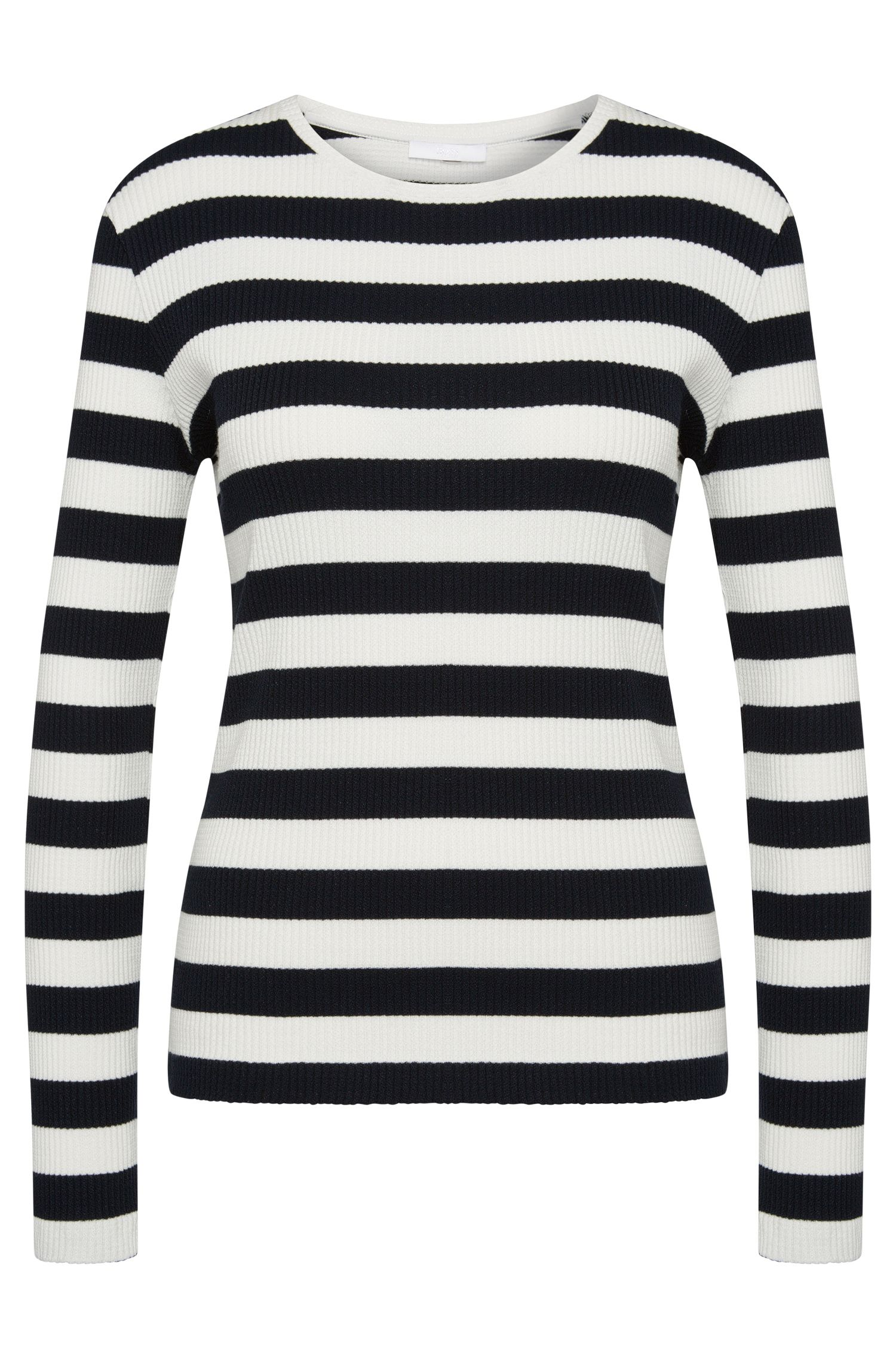 Striped sweater in stretch cotton: 'Eriba'