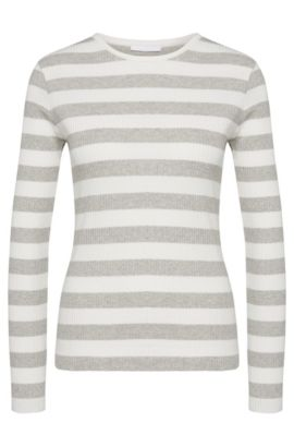 Striped sweater in stretch cotton: 'Eriba', Patterned