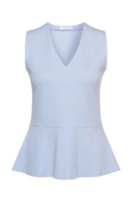 Top in misto cotone elasticizzato con drappeggio: 'Erane', Turchese