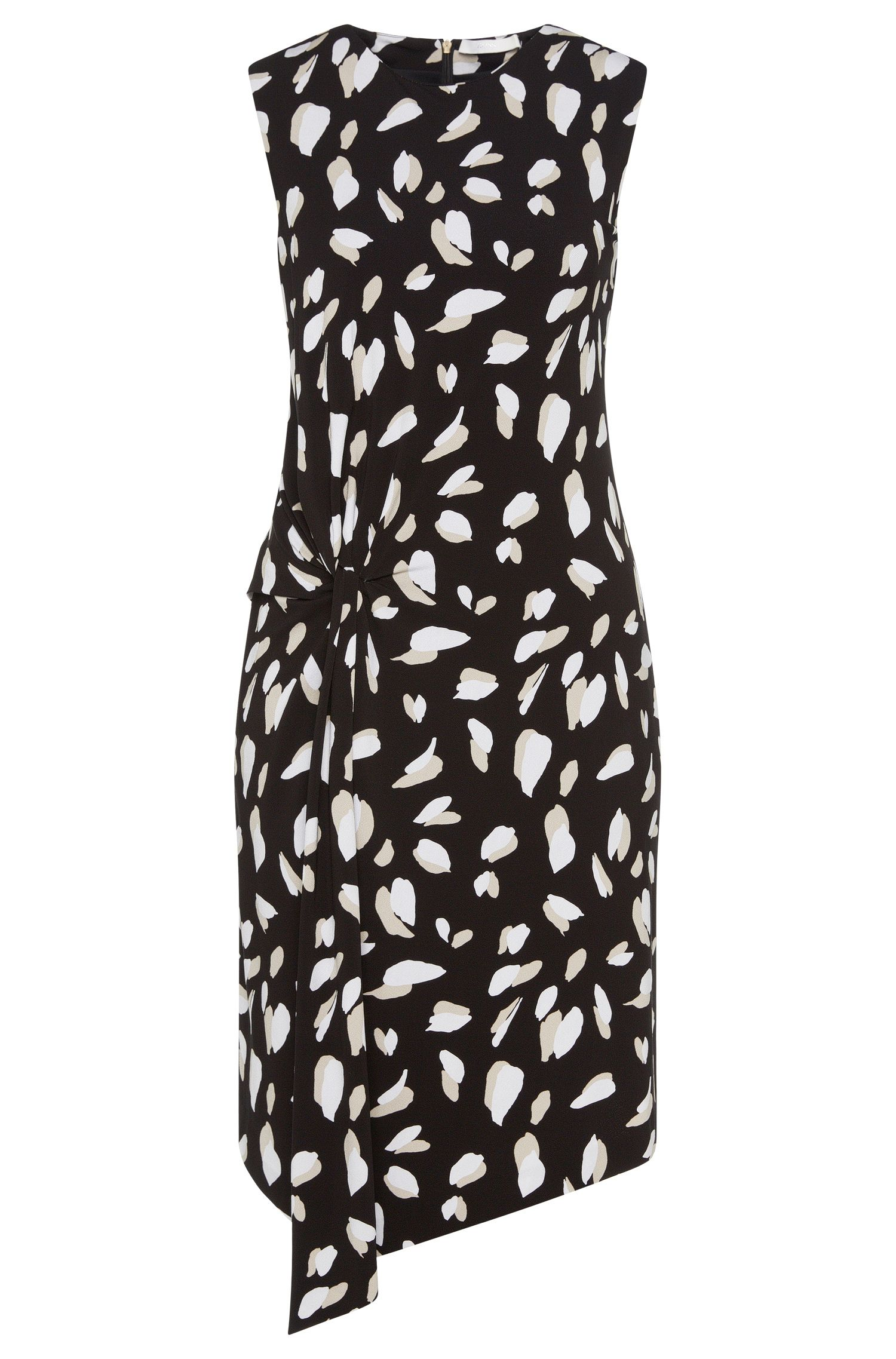 Patterned dress in stretch viscose with gathering: 'Enavia'
