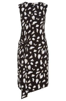 Patterned dress in stretch viscose with gathering: 'Enavia', Patterned