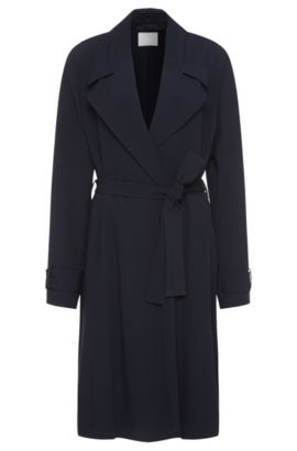 Lightweight coat with wrap belt: 'Cafyna', Open Blue