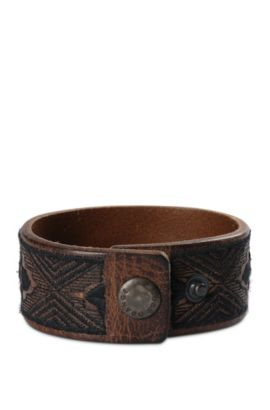 Wide leather bracelet with ethnic embroidery: 'Manton', Dark Green