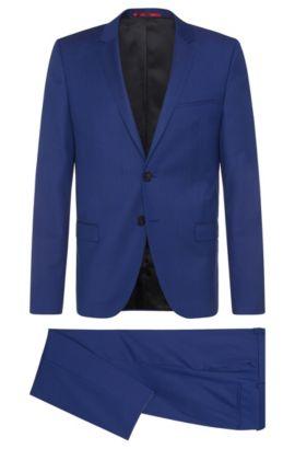 Slim-Fit Anzug aus strukturierter Schurwolle: 'Arti/Heilon', Blau