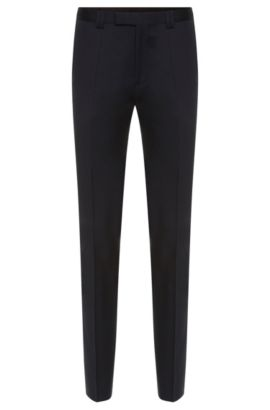 Slim-fit trousers in new wool: 'Heilon', Dark Blue