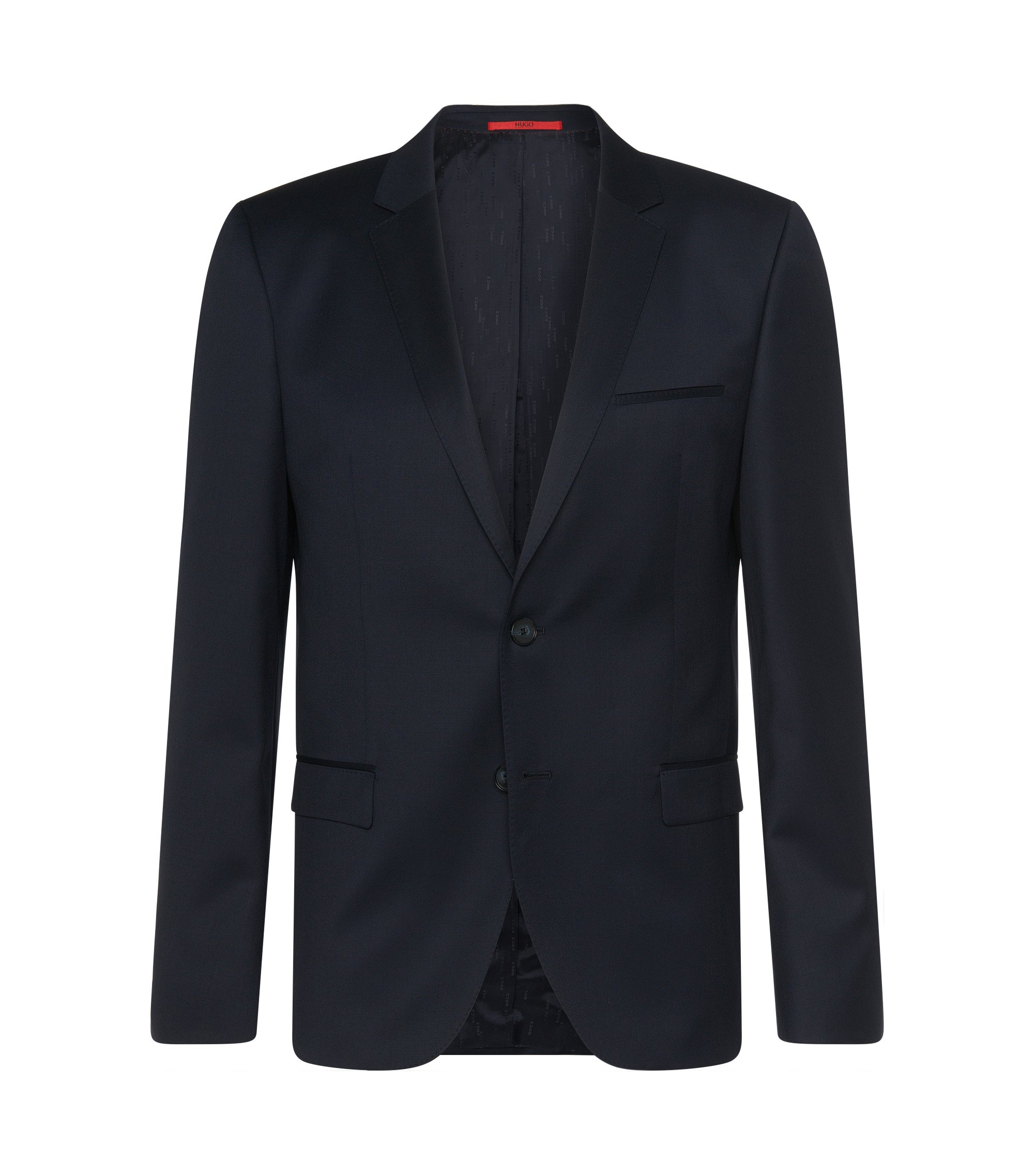 Plain-coloured slim-fit jacket in new wool: 'Arti', Dark Blue