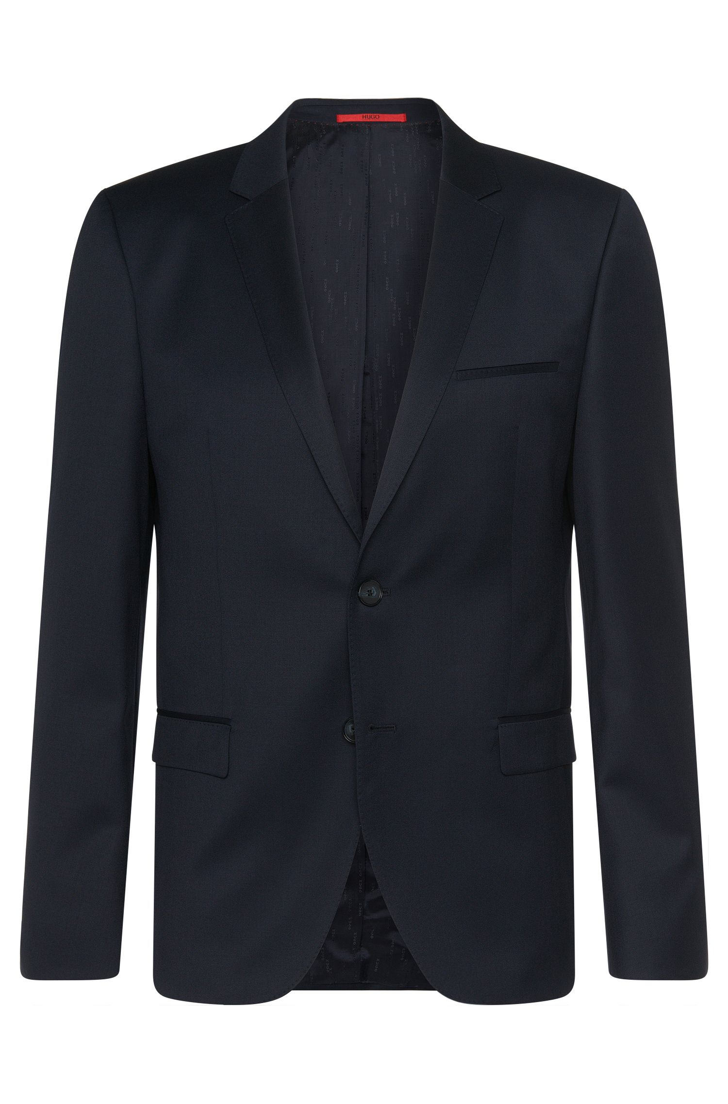 Plain-coloured slim-fit jacket in new wool: 'Arti'