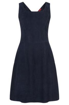 Vestido de piel con estilo patchwork: 'Limanu', Azul oscuro