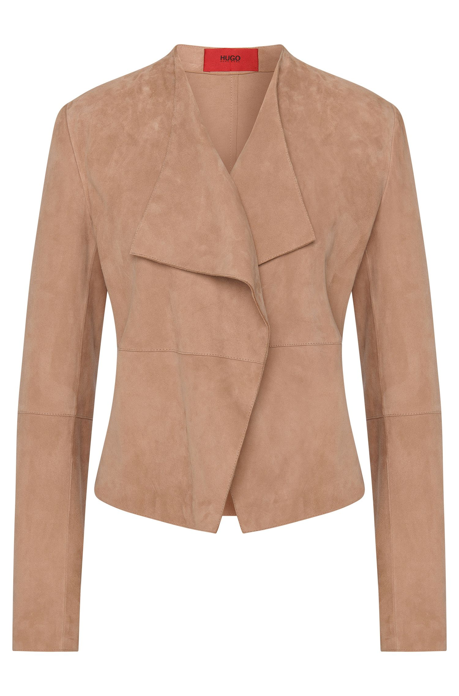 Fitted leather jacket with open front: 'Lariani'