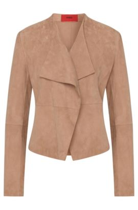 Fitted leather jacket with open front: 'Lariani', Light Brown
