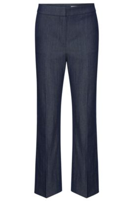Regular-fit trousers in stretchy new wool blend with linen: 'Allery', Open Blue