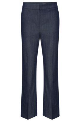 Regular-Fit Hose aus elastischem Schurwoll-Mix mit Leinen: 'Allery', Hellblau