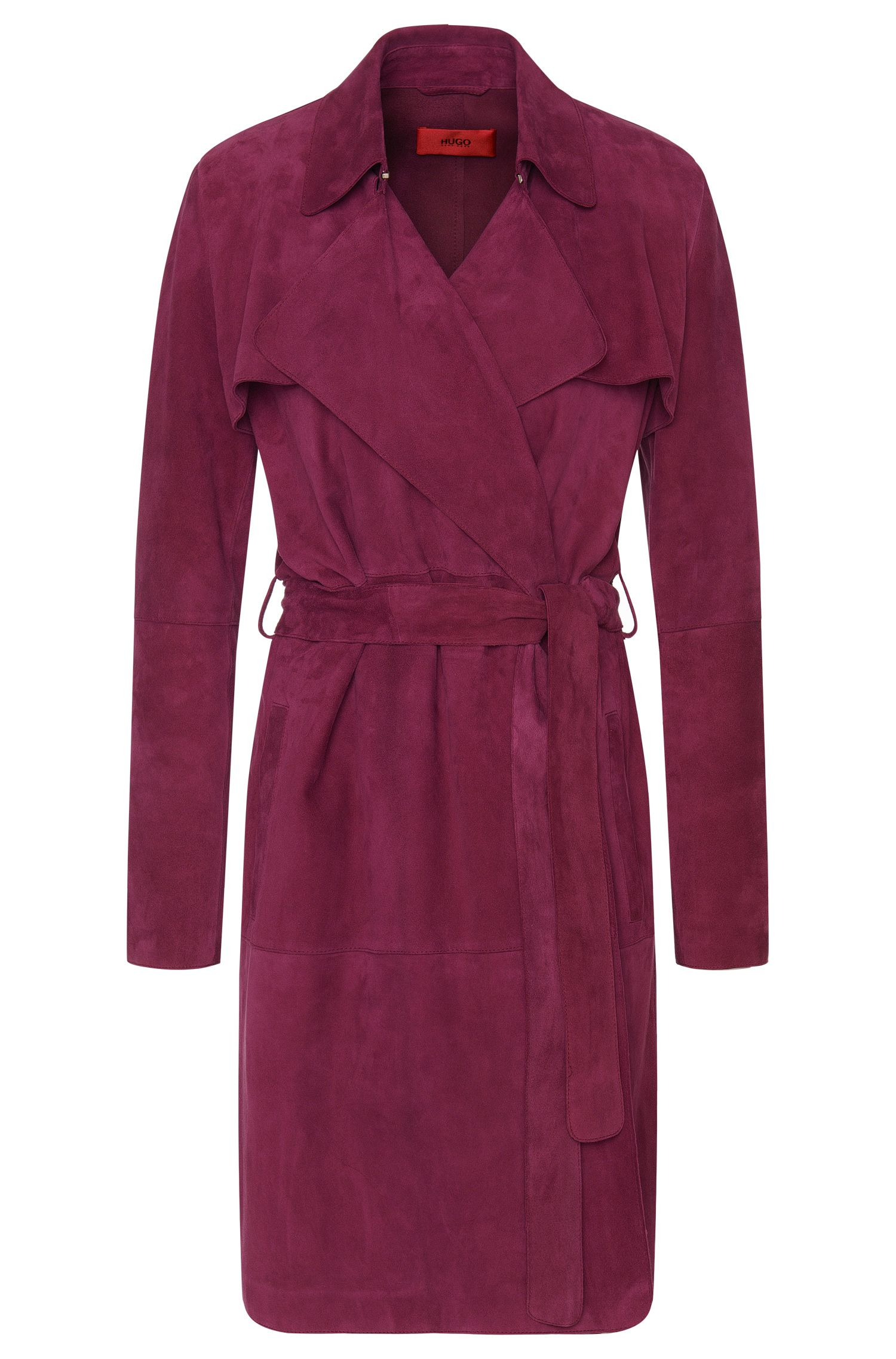 Manteau en cuir de coupe ouverte, de style trench: «Lysie»