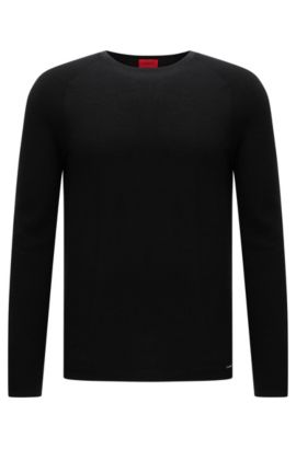 Relaxed-fit sweater in textured cotton: 'Sider', Black