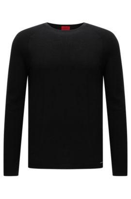 Pull Relaxed Fit en coton structuré: «Sider», Noir
