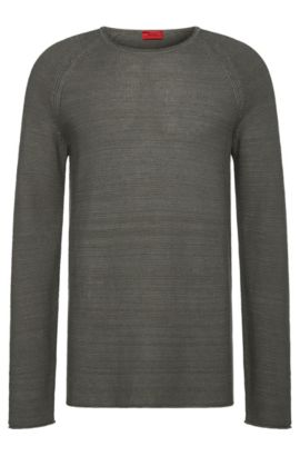 Relaxed-fit sweater in linen blend with cotton: 'Soler', Dark Grey